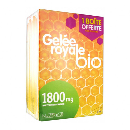 Nutrisanté Gelée Royale Bio 1800mg Lot de 3 x 10 Ampoules dont 10 Offertes